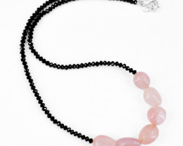 Genuine 105.00 Cts Pink Rose Quartz & Black Spinel Faceted Beads Neckla
