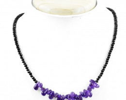 Genuine 60.00 Cts Purple Amethyst & Black Spinel Faceted Beads Necklace