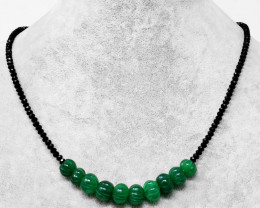Genuine 80.00 Cts Black Spinel & Green Jade Carved Beads Necklace