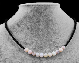 Genuine 50.0 Cts Pink Australian Opal & Black Spinel Faceted Beads Neck