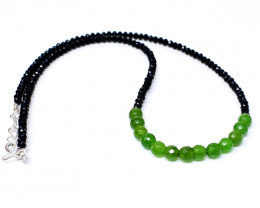 Genuine 50.00 Cts Green Garnet & Black Spinel Faceted Beads Necklace