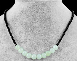 Genuine 65.00 Cts Black Spinel & Green Aquamarine Beads Necklace