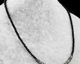 Genuine 50.00 Cts Black Spinel & Labradorite Round Faceted Beads Neckla