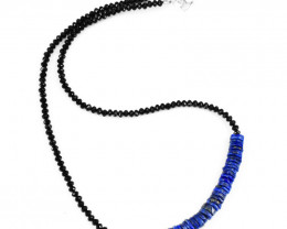 Genuine 70.00 Cts Blue Lapis Lazuli & Spinel Beads Necklace