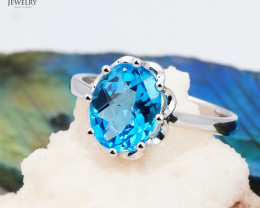 Stunning 14 K White Gold Blue Topaz Ring Size 7 - A R10815 3400