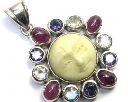 GEMSTONES PENDANT DIRECT FROM FACTORY SILVER 20.25CTS SJ1192