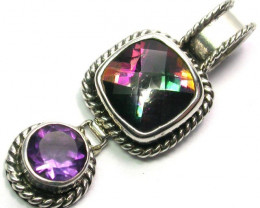 MYSTIC QUARTZ GEMSTONE PENDANT DIRECT FROM FACTORY SILVER 25.20CTS SJ1179