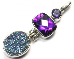 GEMSTONES PENDANT DIRECT FROM FACTORY SILVER 25.15CTS SJ1175