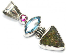 GEMSTONES PENDANT DIRECT FROM FACTORY SILVER 23.15CTS SJ1176NR