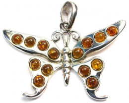 AMBER BUTTERFLY PENDANT -SILVER 57.60 CTS [SJ1421]