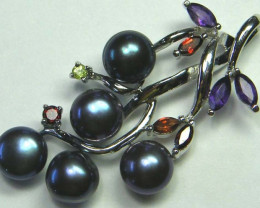 PEARL SILVER PENDANT WITH 8 NATURAL STONES 40 CTS [GT1182 ]