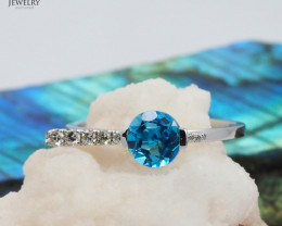 18 K White Gold Blue Topaz & Diamond Ring Size 7 - A R11481 4300