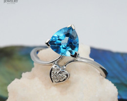 18 K White Gold Blue Topaz & Diamond Ring Size 6 - A R6497C 3450
