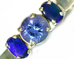 8 SIZE TANZANITE AND OPAL RING -FACTYORY DIRECT [SJ4568]