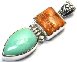 GEMSTONES PENDANT DIRECT FROM FACTORY SILVER 17.95CTS SJ1178