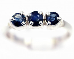 SIZE 7 BLUE AUSTRALIAN SAPPHIRES SET IN SILVER RING [SJ4548]