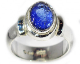7.5 RING SIZE TANZANITE SILVER RING -FACETED [SJ2941]