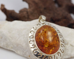 Baltic Amber Silver Pendant , direct from Poland  AM 558