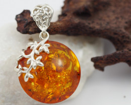 Baltic Amber Silver Pendant , direct from Poland  AM 560