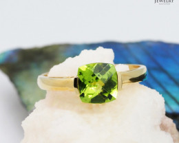 Stylish Modern 14 K Yellow Gold Peridot Ring size 7 - A R2626 2400