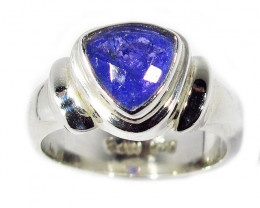 7.5 RING SIZE TANZANITE SILVER RING -FACETED [SJ2950]SH
