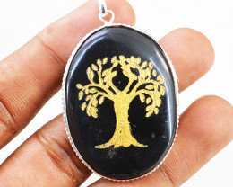 Black Spinel Tree Pendant