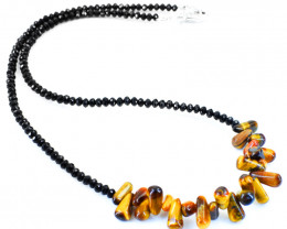 Genuine 70.00 Cts Golden Tiger Eye & Black Spinel Faceted Beads Necklac
