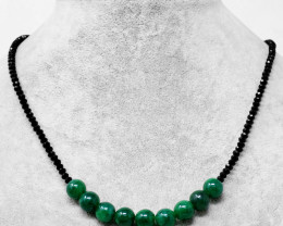Genuine 75.00 Cts Black Spinel & Green Jade Round Beads Necklace