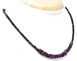 Genuine 60.00 Cts Red Garnet & Black Spinel Faceted Beads Necklace