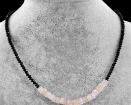 Genuine 60.00 Cts Pink Rose Quartz & Black Spinel Beads Necklace