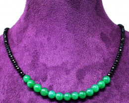 Genuine 55.00 Cts Black Spinel & Green Jade Faceted Beads Necklace
