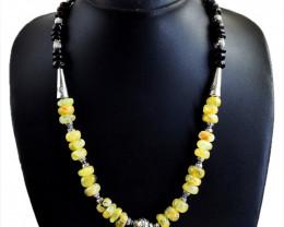Genuine 290.00 Cts Smoky Quartz & Phrenite Beads Designer Necklace