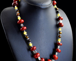 Genuine 379.00 Cts Red Jasper , Tiger Eye & Aventurine Beads Necklace