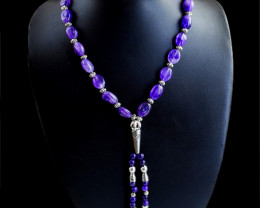 Genuine 279.00 Cts Amethyst Beads Designer Necklace