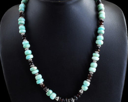 Genuine 249.00 Cts Red Garnet & Amazonite Round Beads Necklace
