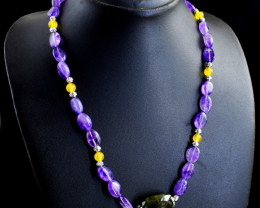 Genuine 210.00 Cts Amethyst & Aventurine Beads Necklace