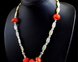 Genuine 237.00 Cts Aventurine & Carnelian Faceted Beads Necklace