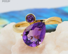18 K Yellow Gold Amethyst Ring size 7.25 - A R11023 3500