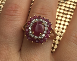 14ct Yellow and White Gold Natural Ruby & Diamond Ring