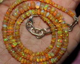 49 Crt Natural Ethiopian Welo Fire Opal Beads Necklace 1159