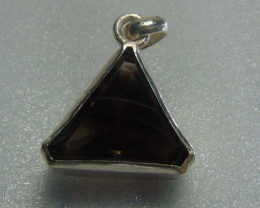 brown quartz ~ pendent ~ hand craft designs silvers 45.50 cts