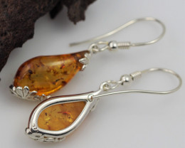 Baltic Amber Sale, Silver Earring  , direct from Poland  AM 564