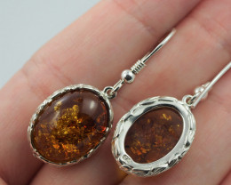 Baltic Amber Sale, Silver Earring  , direct from Poland  AM  573