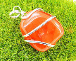 Carnelian Tumble Cut Wire wrapped Tibet Silver Pendant