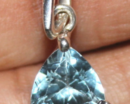 Natural 925 Sterling Silver Faceted Blue Topaz Pendant 91