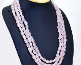 Pink Rose Quartz 3 Strands Oval Shape Beads Necklace