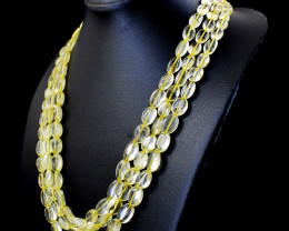 Genuine 460.50 Cts Yellow Citrine Oval Beads Necklace