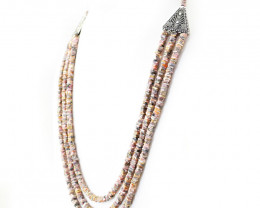 Pink Rhodonite 3 Lines Beads Necklace