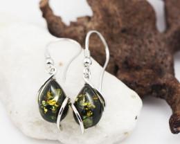 Green Amber Silver Earring  AM 610