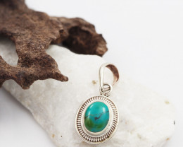Tribal Turquoise silver pendant AM 617